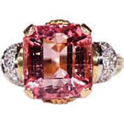 Juicy Pink Tourmaline and Diamond Retro Cocktail RIng, c. 1950, *Video*