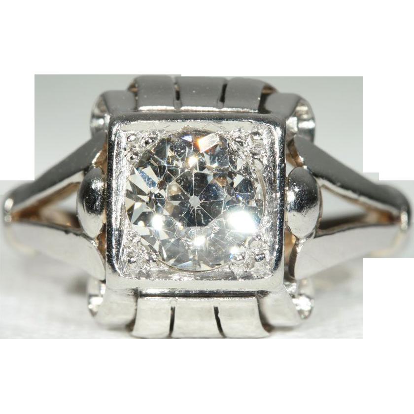Vintage 1.55ct Diamond Engagement Ring Solitaire, Retro Platinum and 18k Gold