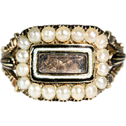 Antique 18k Georgian Enamel Pearl and Hair Memorial Ring Dated 1817