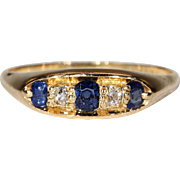 Antique Edwardian Sapphire Diamond Ring in 18k Gold Hallmarked 1912