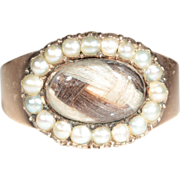 Antique 18k Georgian Pearl and Hair Memorial Ring Dated 1801