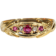 Antique Edwardian Ruby and Diamond 5 Stone Ring, Hallmarked 1903