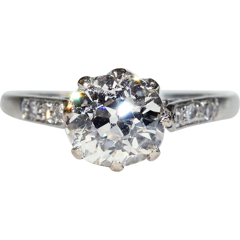 Antique Edwardian 1.75 carat Diamond Solitaire Ring in Platinum, *Video*
