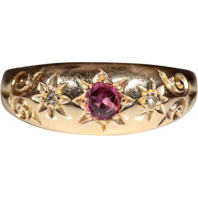 Antique 18k Victorian Ruby and Diamond Ring Hallmarked Birmingham 1902