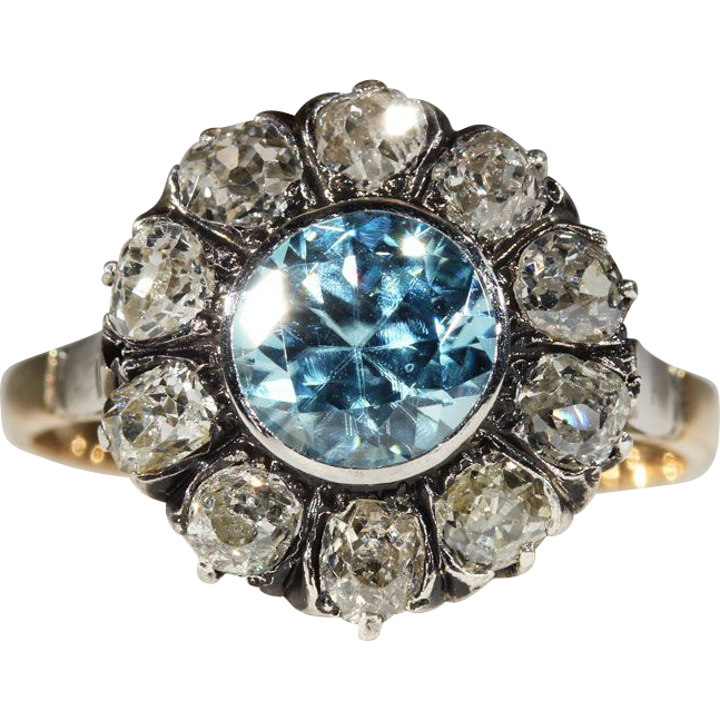 Antique Blue Zircon and Diamond Ring, European c. 1900