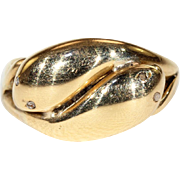 Antique Double Headed Snake Ring with Diamond Eyes, 18k Hallmarked 1890