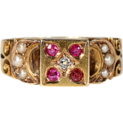 Antique Victorian Ruby, Diamond and Pearl Ring Hallmarked 1887