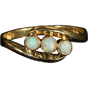 Antique Victorian 3 Stone Opal Ring in 18k Gold
