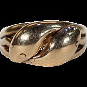 Edwardian Double Snake Gold Ring Wedding Band