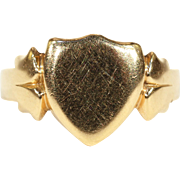 Antique Mens Shield Signet Ring 18 karat Gold