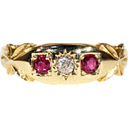 Antique Victorian 3 Stone Ruby and Diamond Stacking Ring or Wedding Band