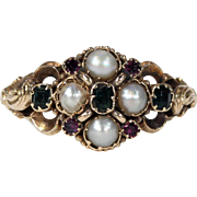 Mid-Victorian Pearl Emerald Ruby Ring