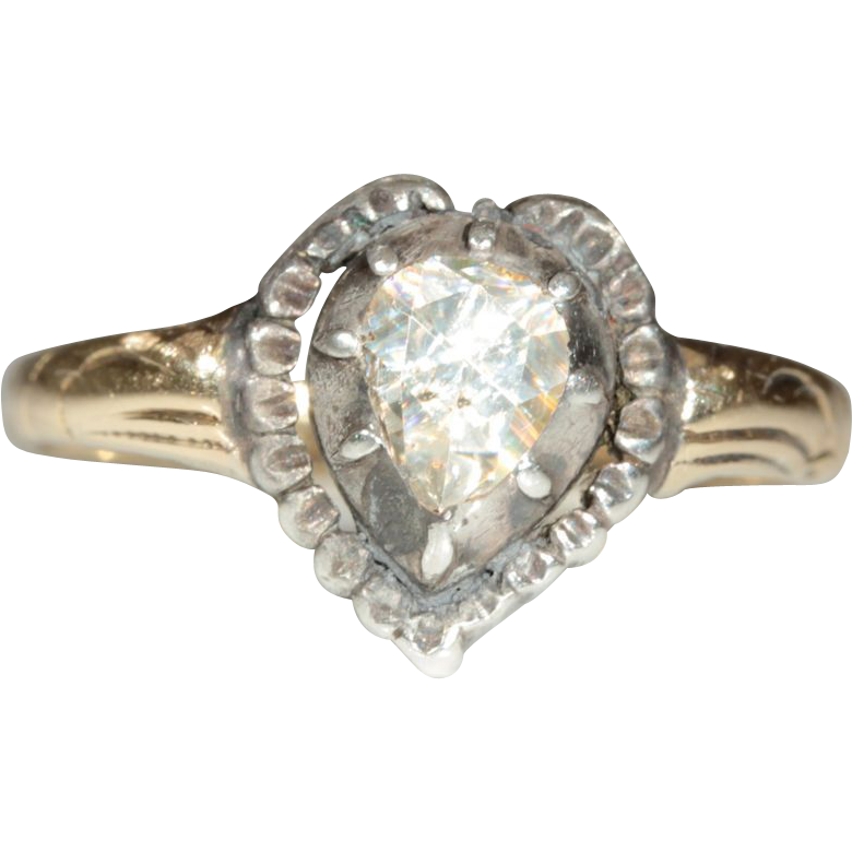 Antique Rose Cut Diamond Heart Ring, 14k and Sliver European c.1860