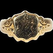 Antique 18k Gold Men's Sheild Ring, Hallmarked 1915