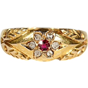 Antique Diamond and Ruby Flower Ring in 15k Gold, Hallmarked 1892