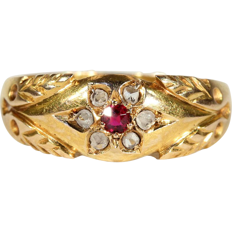 Antique Diamond And Ruby Flower Ring In 15k Gold