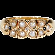 Antique Victorian Pearl Sapphire Diamond Ring Hallmarked 1894