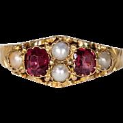 Antique Victorian Garnet Pearl Ring Hallmarked 1873