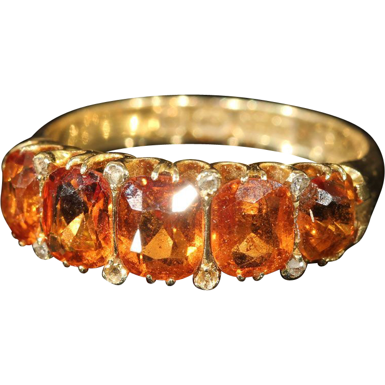 Gorgeous Victorian Spessartite Garnet 5 Stone Ring, 18k Gold, *Video*