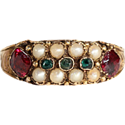 Antique Victorian Ruby, Pearl and Green Garnet Ring, 15k Gold, Hallmarked 1878