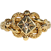 Sweet Victorian Love Knot Ring with Diamond Center, Hallmarked 1871