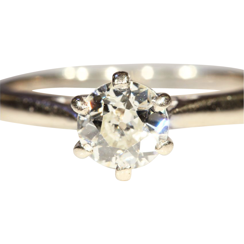 Classic Antique .75ct Diamond Solitaire Ring in 18k & Platinum, *Video*