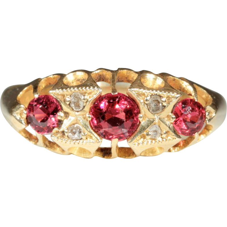 Antique 18k Edwardian Ruby and Diamond Ring Hallmarked Chester, 1919