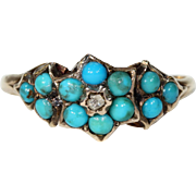 Antique Victorian Turquoise Diamond Ring Hallmarked 1869