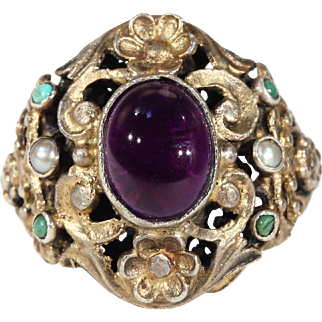 Antique Austro-Hungarian Amethyst Pearl Turquoise Ring