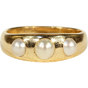 Antique Victorian Gold and Pearl Gypsy 3 Stone Ring