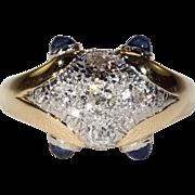 Vintage Retro Diamond Sapphire Ring