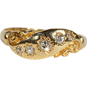 Antique Victorian 3 Stone Diamond Ring in 18k Gold, c. 1890