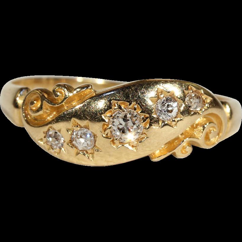 Antique Victorian 3 Stone Diamond Ring In 18k Gold C
