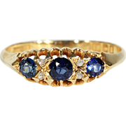 Edwardian 7 Stone Sapphire Diamond Ring