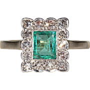 Art Deco Emerald Diamond Rectangular Cluster Ring