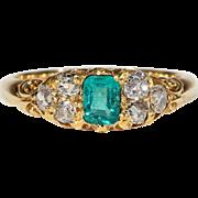 Antique Victorian Emerald Diamond Ring Engagement