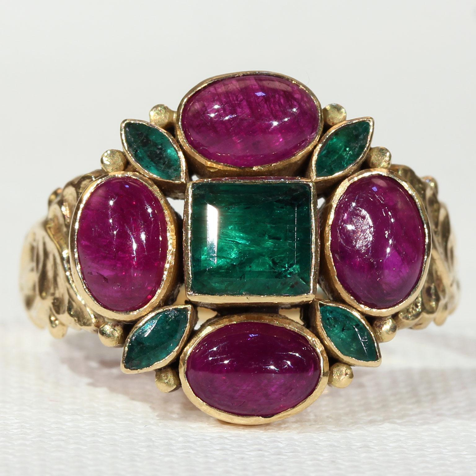 fabulous vintage emerald and ruby ring in 18k gold
