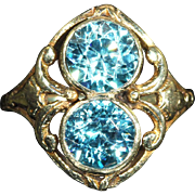 Antique Art Nouveau Blue Zircon Ring in 14k Gold, European c. 1900, *VIDEO*