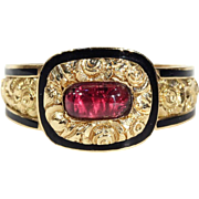 Georgian Garnet Black Enamel Gold Memorial Ring