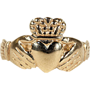 Small Size Vintage Gold Claddagh Ring, Hallmarked Dublin 1979