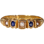 Antique Sapphire Pearl Ring Hallmarked 1891