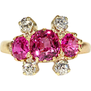 Stunning Edwardian Ruby and Diamond Ring with Bright Pink Rubies