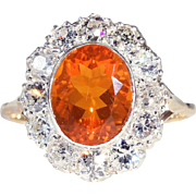 Stunning Antique Edwardian Fire Opal and Diamond Ring