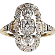 Antique Edwardian Diamond Gold Platinum Ring