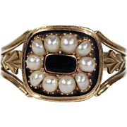 Antique Georgian Black Enamel Pearl Memorial Ring