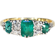 Edwardian Emerald Diamond Engagement Ring 18k Platinum