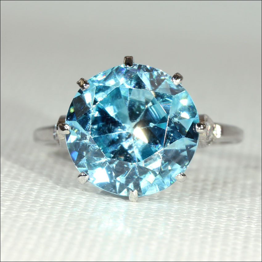 Vintage Blue Zircon And Diamond Ring In Platinum C 1925