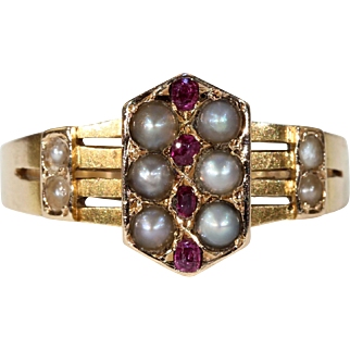 Victorian Ruby Pearl Gold Ring c. 1870