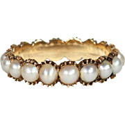 Perfect Georgian Split Pearl Eternity Band in 15k Gold, c. 1830