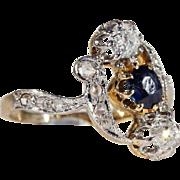 Antique Art Nouveau Sapphire and Diamond Ring, 18k Gold and Platinum c. 1900, *VIDEO*